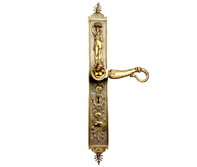 RENAISSANCE STYLE DOOR HANDLE ON LARGE BACKPLATE